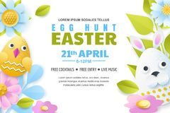 Egg hunt Easter poster, banner, flyer template. Vector layout. Holiday greeting card illustration. Paper cut background. Egg hunt Easter poster, banner or flyer royalty free illustration
