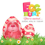 Egg hunt invitation card with pink bunny sitting in egg. Stock Image