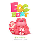 Egg hunt invitation card with pink bunny sitting in egg. Royalty Free Stock Photography