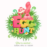 Egg hunt invitation card with pink bunny Stock Photos