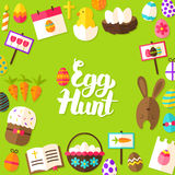 Egg Hunt Lettering Postcard Royalty Free Stock Photography