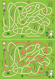 Egg hunt maze. For kids with a solution royalty free illustration