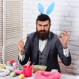 Egg hunt on spring holiday. Bearded man hipster paint easter eggs. love easter. Happy easter. serious brutal male with. Beard. Rabbit man with bunny ears stock photography