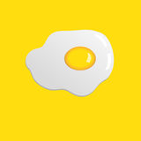 Egg icon. Fried egg isolated illustration on yellow  background Stock Photography