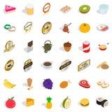 Egg icons set, isometric style. Egg icons set. Isometric style of 36 egg vector icons for web isolated on white background Stock Photos