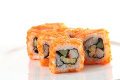 Egg imitation salmon roll sushi isolated Stock Images