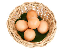 Egg isolated on white background. Egg in basket isolated on white background Royalty Free Stock Photography