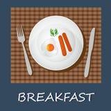 Egg l'omelette e le salsiccie, il concetto della prima colazione, l'insegna, illustrazione di vettore Fotografie Stock