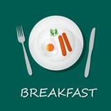 Egg l'omelette e le salsiccie, il concetto della prima colazione, l'insegna, illustrazione di vettore Fotografia Stock Libera da Diritti