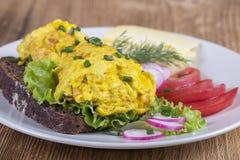 Egg l'omelette sur un morceau de pain noir avec les tomates, le fromage et le radis rouges sur une table en bois, fin  Photo stock