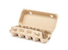 Egg la caja de moldeo de papel de empaquetado aislada en el fondo blanco Imágenes de archivo libres de regalías