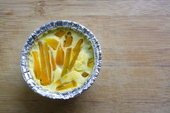 Egg la crema con la zucca in tazza bollente, dessert tailandese Immagini Stock Libere da Diritti