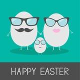 Egg la famille de Pâques avec des lèvres, des moustaches et des lunettes. Mignon et Photos libres de droits
