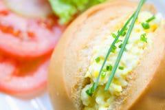 Egg la mayonesa en rodillo de pan Fotografía de archivo