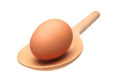 Egg on ladle. Egg on wooden ladle isolated on white background Royalty Free Stock Photos