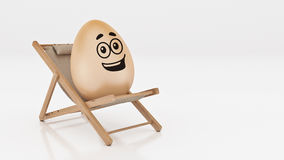 Egg with lay down on summer beach chair  on white,abstract background for Easter holiday concept. Stock Image