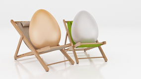 Egg with lay down on summer beach chair  on white,abstract background for Easter holiday concept. Stock Photography