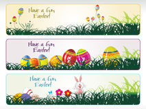 Egg laying in grass, bunny with banner Stock Photography