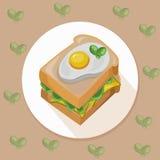 Egg le pain grillé avec le vecteur savoureux frais de petit déjeuner sain de salade verte Image libre de droits