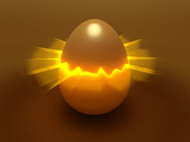 Egg with light in fracture. Dark-yellow/golden egg with central fracture and light beams Stock Image