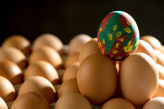 Egg line over on tray stock photos