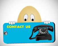 Egg looking contact us Royalty Free Stock Photography