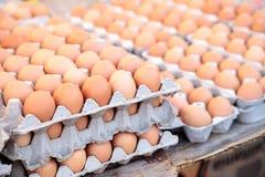 Egg los cajones de huevos marrones y blancos en un mercado local de los granjeros Fotos de archivo libres de regalías