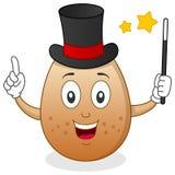 Egg the Magician Character. A funny cartoon egg magician character with magic wand. Eps file available Stock Photo
