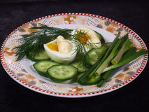 Egg, mayonnaise. Green onion, cucumber, dill on a plate Stock Images