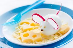Egg mice and cheese appetizer for Halloween. Creative and fun food idea for kids stock images