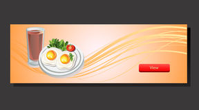 Egg and Milk Banner. Banner with egg, milk, to set up breakfast or food theme. eps 10 file, with no gradient meshes,blends,opacity, stroke path,brushes.Also all stock illustration