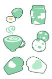 Egg-milk-coffee-Gloves vector Stock Photo