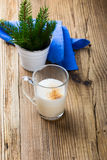 Egg milk punch on rustic wooden table Stock Photo