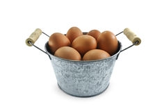 Egg in mini bucket on white background Stock Photography