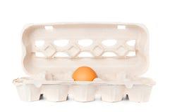 Egg in molded carton. On white background Stock Photo