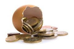 Egg with money on white. Stock Photography