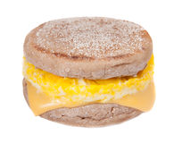 Egg muffin. One full size egg muffin with melted cheese on an English muffin Royalty Free Stock Image