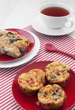 Egg muffins and oat squares breakfast Royalty Free Stock Images