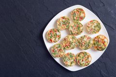 Egg muffins with onion. Pepper , bacon and cheese Stock Photo