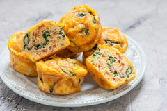 Egg muffins with spinach and bacon Stock Images