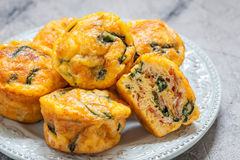 Egg muffins with spinach and bacon Stock Image
