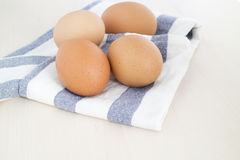 Egg on napkin Royalty Free Stock Images