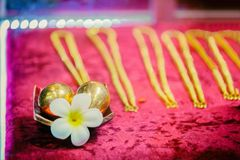 Egg and necklace gold with flower on red background royalty free stock photo