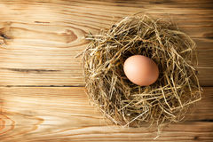 Egg in nest. Egg in hay nest on wooden table background. Top view royalty free stock photography
