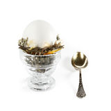 Egg in nest for breakfast. Egg in glass and tea-spoon on white background Stock Photos