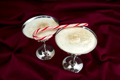 Egg Nog and Candy Cane Royalty Free Stock Photo