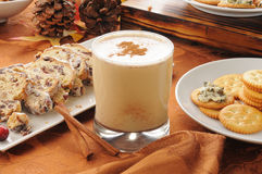 Egg nog with Christmas Stollen Stock Photos