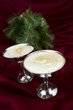 Egg Nog with Evergreen stock photo