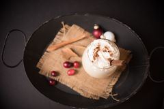 Top view of egg nog in a tray Royalty Free Stock Photos