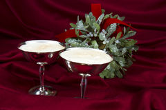 Egg Nog for Two with Mistletoe Royalty Free Stock Photos